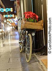 város, bicikli, retro, karácsony