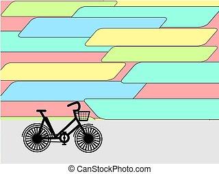 város, bicikli, vector., elpirul háttér