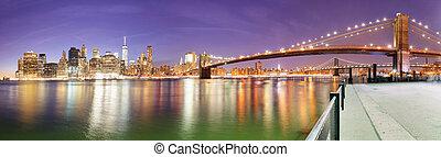 Város, Bridzs,  panoráma,  brooklyn, láthatár,  York, új,  Manhattan