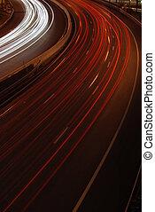 város, (car, motion), autópálya, forgalom, elhomályosít