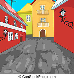 város, cartoon.
