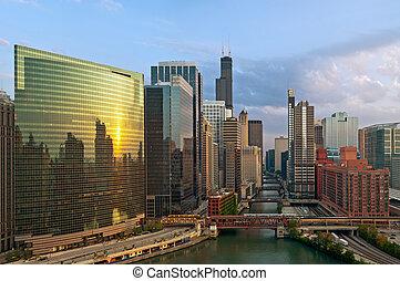 város, chicago.