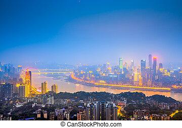 város, chongqing, felett, river., belvárosi, láthatár, kína, yangtze