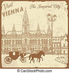 város, császári, meglátogat, bécs, poszter