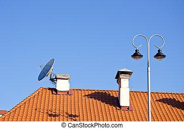 város, csempeborítás, kémény, lámpa, tető