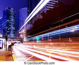 város csillogó, nyomoz, képben látható, forgalom, út