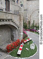 """város, derékszögben, őt ért, szanatórium, 2014:, olaszország, történelmi, utcák, pellegrino, virágos, viterbo."""", lehet, 4, viterbo, viterbo, kiállítás, dekoráció, """"san, fiore, esemény"""