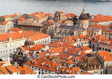 város,  Dubrovnik, öreg, kilátás
