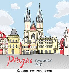 város egyenesen, öreg, cseh, prága, vektor, köztársaság