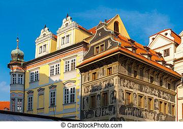 város egyenesen, cseh, épület, belétek, öreg, köztársaság, jegyzőkönyv