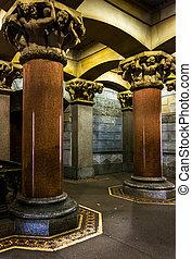 Város, előszoba, érdekes, belső,  philadelphia,  Pennsylvania, Oszlop, építészet