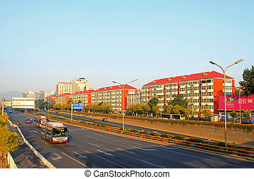 Város, elfoglalt,  Beijing,  modern, Folyik, Forgalom, reggel