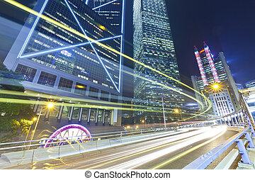 Város, elfoglalt, Forgalom, Éjszaka