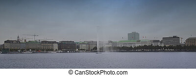 város, elhomályosul, viharos, felett, modern, hamburg, németország