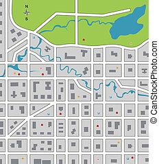 város, elvont, térkép