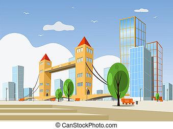 város, elvont, vektor, -, nyár