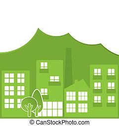 város, elvont, zöld