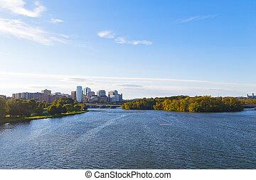 város, emlékmű, arlington, virginia., láthatár, körképszerű, potomac folyó, bridge., kilátás