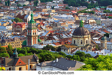 város, este, lviv