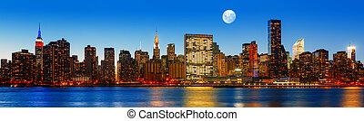 város, este, panoráma, késő, láthatár, york, új