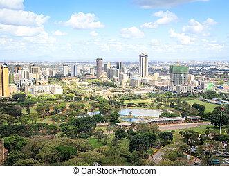 város, -, főváros, cityscape, kenya, nairobi