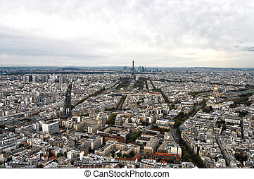 város, felülnézet, franciaország, montparnasse, paris:,...