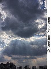 város, felett, ég, viharos