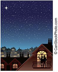 város, felett, csillaggal díszít