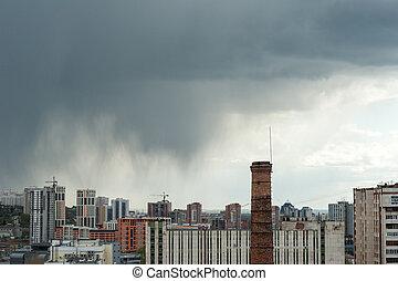 Város, felett, elhomályosul, eső, kilátás
