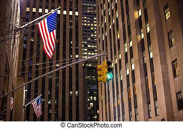 város, felhőkarcoló, állati tüdő, amerikai, forgalom, york, háttér, új, zászlók