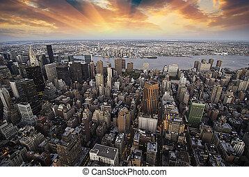 város, felhőkarcoló, felett, napnyugta, york, új