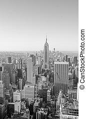 város, felhőkarcoló, láthatár, york, új, manhattan