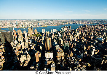 város, felhőkarcoló, panoráma, york, új, magas