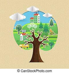 város, fogalom, eco, fa, fenntartható, barátságos