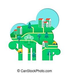 város, fogalom, eco, fa, zöld, barátságos