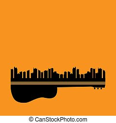 város, fogalom, gitár, tartózkodik zene, háttér, narancs
