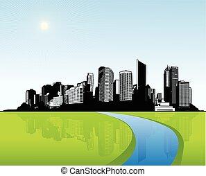 város, grass., vektor, művészet, zöld