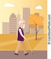 város, gyalogló, poszter, liget, bot, senior bábu