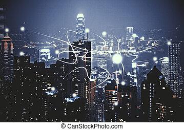 Város, háttér, Éjszaka