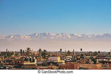 város, hegyek, láthatár, háttér, atlasz, marrakesh