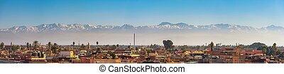 város, hegyek, panoráma, marrakech, láthatár, háttér, atlasz