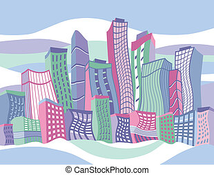 város, hullámos, karikatúra