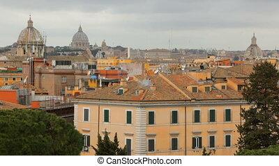 város, időjárás, gyönyörű, róma, kilátás, felhős