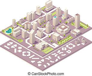 város, isometric, alkotás, térkép, felszerelés