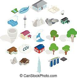 város, isometric, ikonok, állhatatos, mód, táj