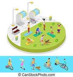 város, isometric, külső, bicikli, emberek, liget, lakás, vektor, ábra, parking., aktivál, activity., zenemű, 3