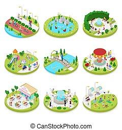 város, isometric, külső, család, lakás, emberek., liget, gyalogló, ábra, zenemű, vektor, activity., walk., 3