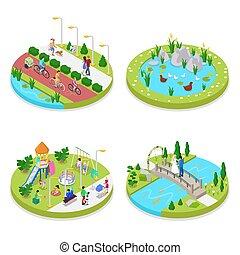 város, isometric, külső, emberek, liget, gyalogló, ábra, vektor, lakás, cyclists., activity., zenemű, 3