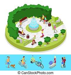 város, isometric, külső, emberek, liget, lakás, aktivál, vektor, ábra, fountain., activity., zenemű, 3