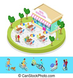 város, isometric, külső, lakás, emberek., liget, gyalogló, ábra, vektor, activity., kávéház, zenemű, 3